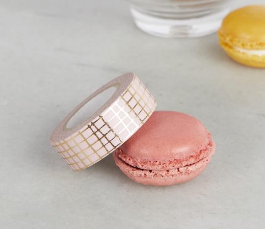 Washi tape rosa con cuadrícula dorada