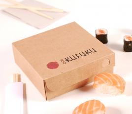Square cardboard box for sushi