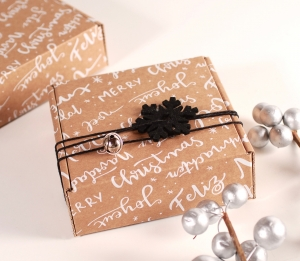 Square box with Christmas decoration