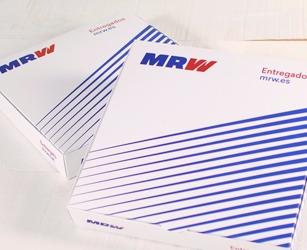 Azione presentazione interna MRW. Scatola per spedizione media standard con stampa personalizzata.